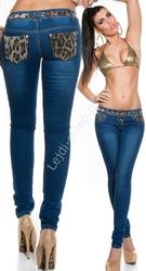 Jeansy rurki z panterka na kieszeniach   modelujące  jeansy damskie