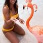 Strój kąpielowy sportowy nowoczesny modny żółty