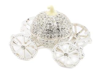Szkatułka karoca prezent chrzest roczek dedykacja - szkatułka karoca z kryształami