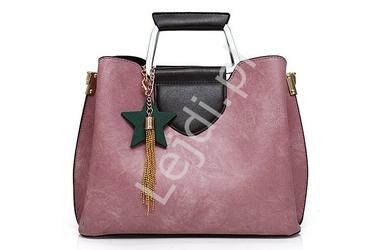Zestaw torebek w kolorze różowym | duża torebka + kopertówka + saszetka