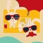Plakat chic rabbit na plaży w summertime - plik vector eps10