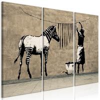 Obraz - banksy: pranie zebry na betonie 3-częściowy