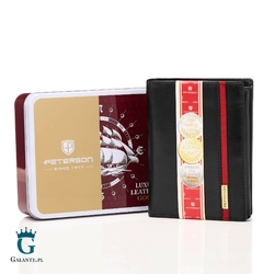 Pionowy portfel skórzany blackred petereson 317.04