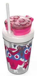 Butelka dla dziecka z pojemnikiem na ciasteczka Contigo Snack tumbler 350ml - różowe sowy - Różowy