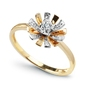 Staviori pierścionek. 1 diament, szlif brylantowy, masa 0,03 ct., barwa h, czystość i1. żółte, białe złoto 0,585. średnica korony ok. 10 mm. wysokość 5 mm. szerokość obrączki ok. 1,5 mm.
