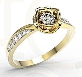 Zestaw z żółtego złota w kształcie róży z diamentami lp-4221z-r - żółte z rodowaniem  diament