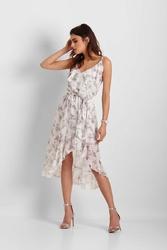 Wzorzysta Biała Asymetryczna Sukienka z Falbankami