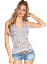 Szara koszulka bokserka zdobiona kryształkami, jetami i koronką