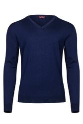 Niebieski sweter męski z wełny merino w serek xxs