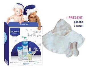 Mustela zestaw zimowy 3 kosmetyki + prezent cieplutkie poncho i buciki dla maluszka