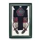 Granatowe szelki do spodni z wykończeniem w czerwony wzór paisley