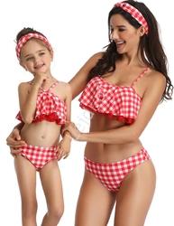 Strój kąpielowy dla mamy i córki w kratkę z koronką
