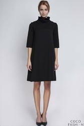 Czarna Sukienka z Golfem i Plisą na Plecach