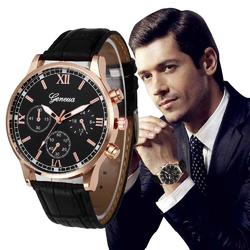 Zegarek męski GENEVA pasek skóra ELEGANCKI złoty - złoty