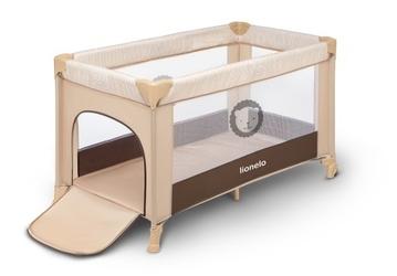 Lionelo adriaa beige stripes łóżeczko turystyczne + moskitiera + torba