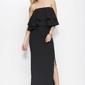Czarna sukienka maxi z falbanami
