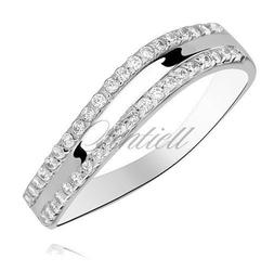 Srebrny pierścionek pr.925 cyrkonia biała - falowany