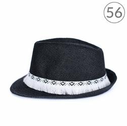 KAPELUSZ czarny LETNI z białymi frędzlami 56 - czarny 56