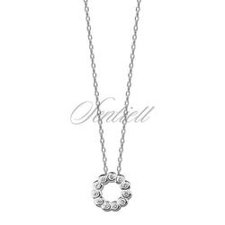 Srebrny naszyjnik pr.925 z okrągłą zawieszką i cyrkoniami