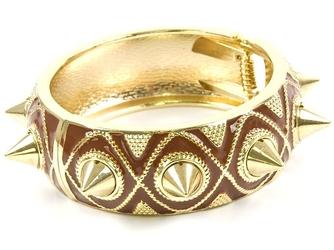 Bransoletka sztywna kolce złota