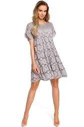 Szara Luźna Sukienka z Krótkimi Rękawami