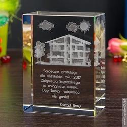 Dom marzeń 3d • personalizowany kryształ 3d • grawer 3d gratis