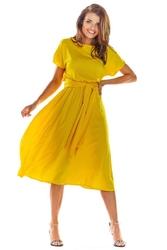 Rozkloszowana midi żółta sukienka z krótkim kimonowym rękawem