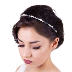 Opaska do włosów perły cyrkonie szare kryształy - szare