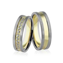 Obrączki ślubne dwukolorowe z brylantami - au-940