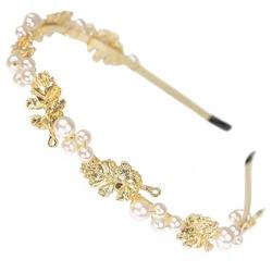 Opaska do włosów ślubna perły złota ślub