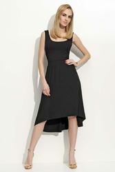 Czarna Sukienka Z Wydłużonym Tyłem