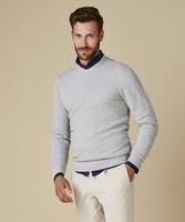Pullover v-neck z fakturą jasno szary s