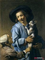 dzieci bawiące się z kotem - abraham bloemaert ; obraz - reprodukcja