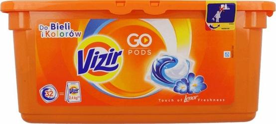 Vizir Go Pods, Touch of Lenor, żelowe kapsułki do prania, 32 sztuki