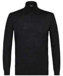 Grafitowy sweter wełniany golf L