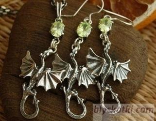 Dragon - srebrny komplet smoki z cytrynem