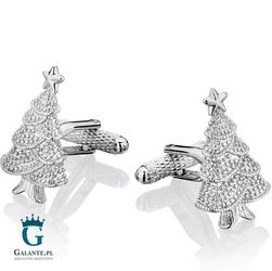 Spinki do mankietów srebrna choinka świąteczna kc-967 onyx-art london