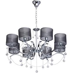 Nowoczesny żyrandol na 8 żarówek - chrom, kryształy, czarne klosze 379019108