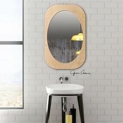 Nowoczesne lustro kami w skandynawskim stylu z ramą w kolorze naturalnym