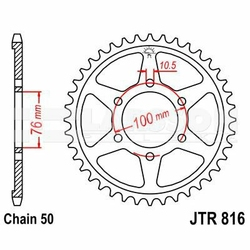 Zębatka tylna stalowa JT 816-45, 45Z, rozmiar 530 2300783 Suzuki GSF 1200, GSX-R 1100