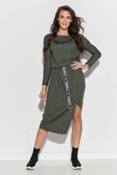 Asymetryczna dzianinowa sukienka z logowanym paskiem - khaki