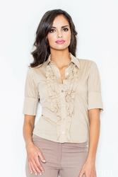 Beżowa elegancka koszula z falbankami