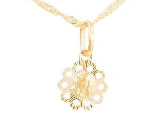 Złoty medalik matka boska okrągły ażurowy pr. 585