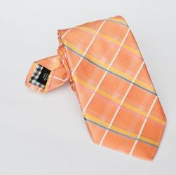 Elegancki krawat jedwabny Hemley jasnopomarańczowy w różowo niebiesko żółtą kratkę