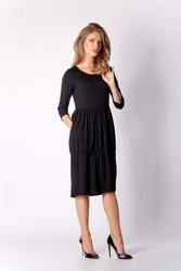 Czarna dzianinowa codzienna sukienka bombka