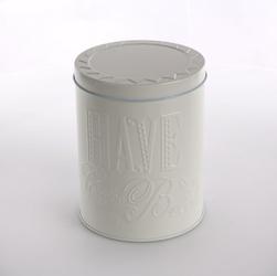 Puszka  pojemnik na kawę, herbatę, kasze oraz cukier altom design relief beżowa okrągła