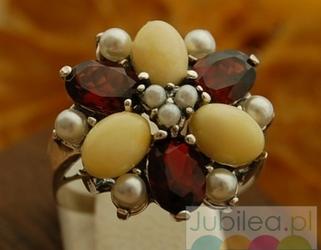 Mariano - srebrny pierścień granaty, perły i bursztyny