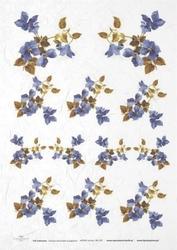 Papier ryżowy ITD A4 R139 niebieskie kwiatki