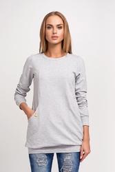 Szara dłuższa nierozpinana bluza z kieszeniami