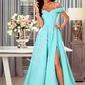 Turkusowa długa suknia z mieniącym brokatem, elizabeth brokat